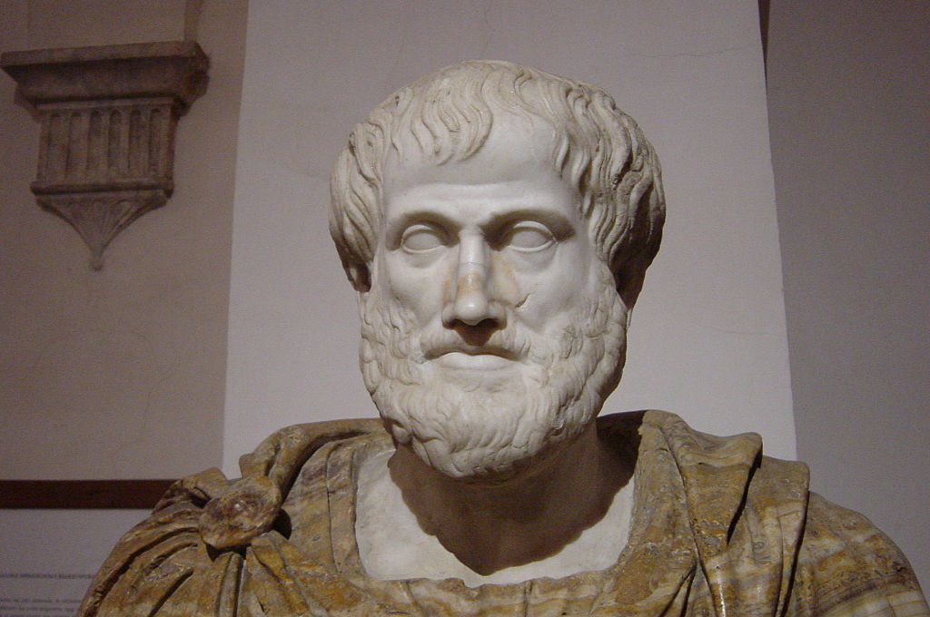 Bust of Aristotle. Marble, Roman copy after a Greek bronze original by Lysippos from 330 BC; the alabaster mantle is a modern addition. Image from Wikimedia Commons